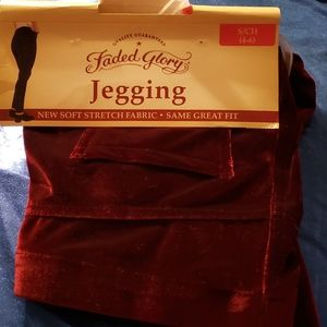 Faded Glory red velvet leggings